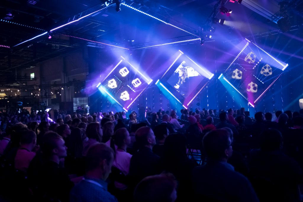 The Pink Stage was packed during the Research Pitching Finals at Slush