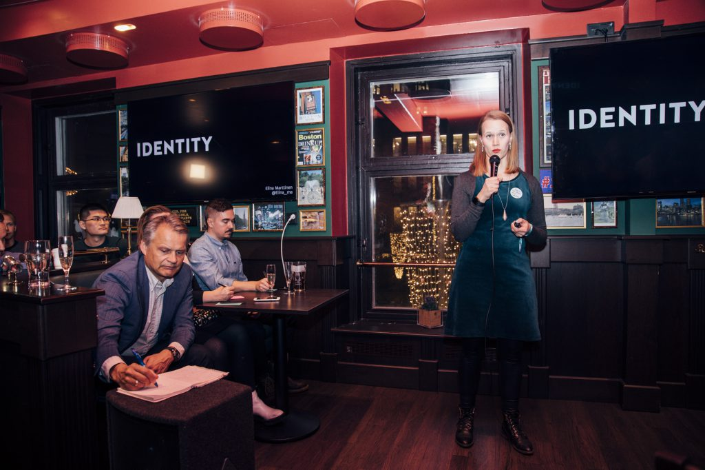 Finalist Elina Marttinen pitches her idea at Skolar Award Premiere at O'Learys